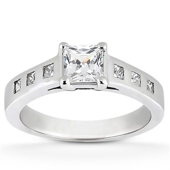 1.00CT Solitaire Bezel Accent Diamond Ring 14K White Gold