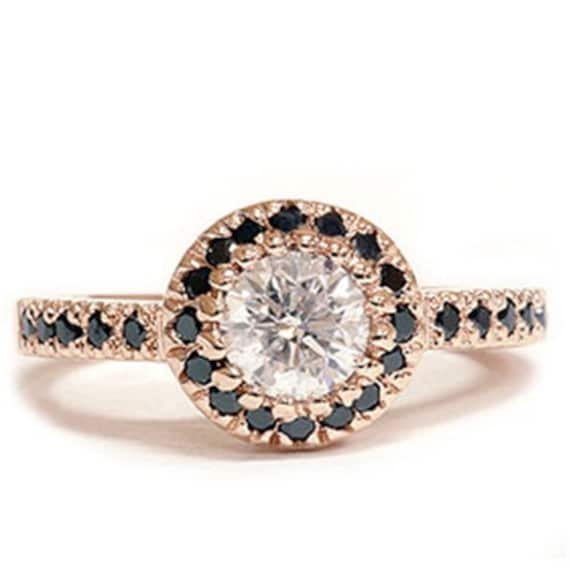 Black & White Diamond .93CT Engagement Ring 14K Rose Gold