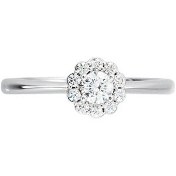 VS .55CT Round Solitaire Rope Ring 14K White Gold Sizes 4-10