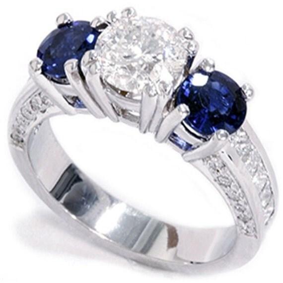 Three Stone Diamond Accent Ring  3.36CT Three Stone Diamond Accent Ring 14K White Gold
