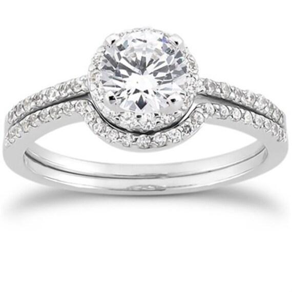 Petite Diamond Halo Engagement Ring Wedding Set .80CT