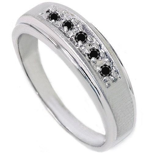 Mens 15CT Black Diamond Genuine Wedding Ring Anniversary Band