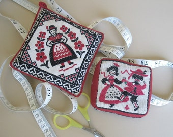 2 Vintage Folk Pincushions Red and Black Linen