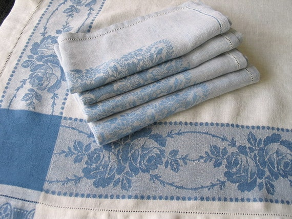 Vintage Blue And White Linen Damask Tablecloth Napkins
