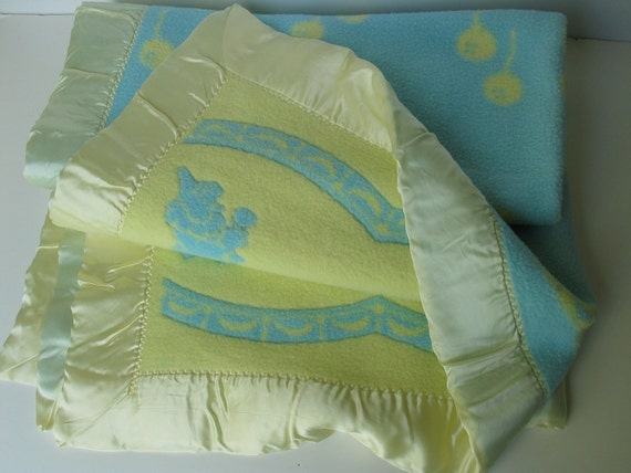 Reserved for billreilly  1940 Wool Sculptured Baby Blanket Circus Figures Blue and Yellow