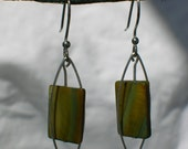 Modern Green and Silver Earrings FREE SHIPPING
