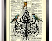 Three Birds On A Chandelier, Home, Kitchen, Nursery, Office Decor, Wedding Gift, Eco Friendly Book Art, Vintage Dictionary Print 8 x 10 in.