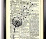 Dandelion Wishes, Home, Kitchen, Nursery, Bathroom, Office Decor, Wedding Gift, Eco Friendly Book Art, Vintage Dictionary Print, 8 x 10 in.