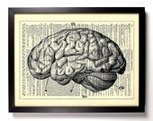 Anatomy Brain, Home, Kitchen, Nursery, Bath, Office Decor, Wedding Gift, Eco Friendly Book Art, Vintage Dictionary Print 8 x 10 in.