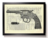 Colt Revolver Gun Bullet, Home, Kitchen, Nursery, Office Decor, Wedding Gift, Eco Friendly Book Art, Vintage Dictionary Print, 8 x 10 in.