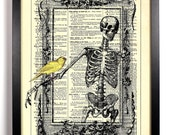 Skeleton In Frame With Bird, Home, Kitchen, Nursery, Office Decor, Wedding Gift, Eco Friendly Book Art, Vintage Dictionary Print, 8 x 10 in.