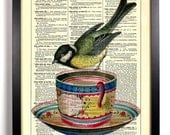 Little Bird On Teacup, Home, Kitchen, Nursery, Bath, Office Decor, Wedding Gift, Eco Friendly Book Art, Vintage Dictionary Print, 8 x 10 in.
