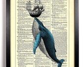 Whale Of A Tale, Home, Kitchen, Nursery, Bathroom, Office Decor, Wedding Gift, Eco Friendly Book Art, Vintage Dictionary Print, 8 x 10 in.