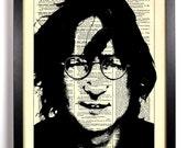 John Lennon, Home, Kitchen, Nursery, Bathroom, Dorm, Office Decor, Wedding Gift, Eco Friendly Book Art, Vintage Dictionary Print 8 x 10 in.