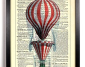Red Striped Hot Air Balloon, Home, Kitchen, Nursery, Office Decor, Wedding Gift, Eco Friendly Book Art, Vintage Dictionary Print 8 x 10 in.