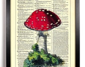 Little Red Mushroom, Home, Kitchen, Nursery, Bath, Office Decor, Wedding Gift, Eco Friendly Book Art, Vintage Dictionary Print 8 x 10 in.