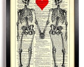 Till Death Do Us Part Skeleton Love, Home, Kitchen, Office Decor, Wedding Gift, Eco Friendly Book Art, Vintage Dictionary Print 8 x 10 in.