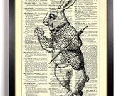 White Rabbit Alice In Wonderland, Home, Nursery, Bath, Office Decor, Wedding Gift, Eco Friendly Book Art, Vintage Dictionary Print 8 x 10 in