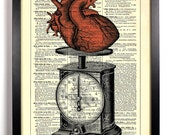 Weight Of My Heart, Home, Kitchen, Nursery, Bath, Office Decor, Wedding Gift, Eco Friendly Book Art, Vintage Dictionary Print 8 x 10 in.