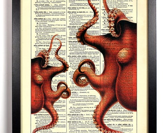 Red Octopus Friends, Home, Kitchen, Nursery, Bath, Office Decor, Wedding Gift, Eco Friendly Book Art, Vintage Dictionary Print, 8 x 10 in.