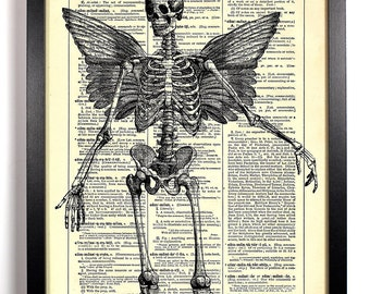 Anatomy Skeleton With Wings, Home, Kitchen, Nursery, Office Decor, Wedding Gift, Eco Friendly Book Art, Vintage Dictionary Print 8 x 10 in.