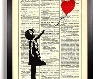 Banksy Balloon Girl, Home, Kitchen, Nursery, Bath, Office Decor, Wedding Gift, Eco Friendly Book Art, Vintage Dictionary Print 8 x 10 in.
