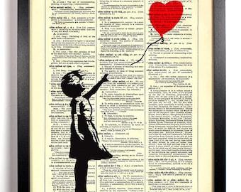 Banksy Balloon Girl, Home, Kitchen, Nursery, Bath, Office Decor, Wedding Gift, Eco Friendly Book Art, Vintage Dictionary Print 8 x 10 in.