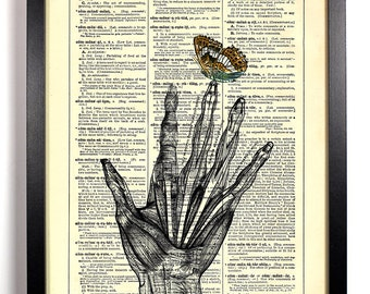 Skeleton Anatomy Hand With Butterfly, Home, Nursery, Office Decor, Wedding Gift, Eco Friendly Book Art, Vintage Dictionary Print 8 x 10 in.