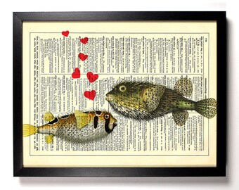 Puffer Fish Love, Home, Kitchen, Nursery, Bathroom, Office Decor, Wedding Gift, Eco Friendly Book Art, Vintage Dictionary Print, 8 x 10 in.