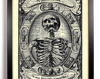 Occult Skeleton, Home, Kitchen, Nursery, Bathroom, Office Decor, Wedding Gift, Eco Friendly Book Art, Vintage Dictionary Print, 8 x 10 in.