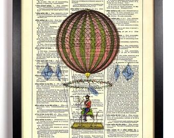 Hot Air Balloon Ride, Home, Kitchen, Nursery, Bath, Office Decor, Wedding Gift, Eco Friendly Book Art, Vintage Dictionary Print 8 x 10 in.