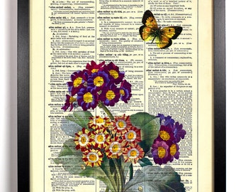 Primrose Bloom and Butterfly, Home, Kitchen, Nursery, Office Decor, Wedding Gift, Eco Friendly Book Art, Vintage Dictionary Print 8 x 10 in.