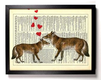 Fox Love, Home, Kitchen, Nursery, Bathroom, Office Decor, Wedding Gift, Eco Friendly Book Art, Vintage Dictionary Print, 8 x 10 in.