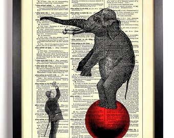 Circus Elephant, Home, Kitchen, Nursery, Bath, Office Decor, Wedding Gift, Eco Friendly Book Art, Vintage Dictionary Print 8 x 10 in.