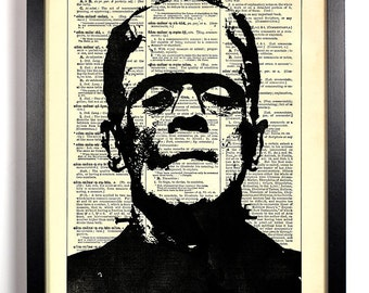 Frankenstein, Home, Kitchen, Nursery, Bath, Office Decor, Wedding Gift, Eco Friendly Book Art, Vintage Dictionary Print 8 x 10 in.