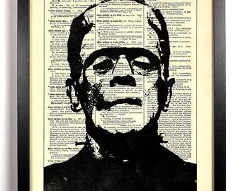 Frankenstein, Home, Kitchen, Nursery, Bath, Office Decor, Wedding Gift, Eco Friendly Book Art, Vintage Dictionary Print 8 x 10 in.