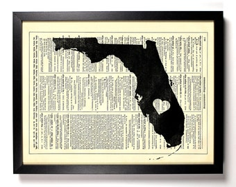 Florida State Map, Home, Kitchen, Nursery, Bath, Office Decor, Wedding Gift, Eco Friendly Book Art, Vintage Dictionary Print 8 x 10 in.