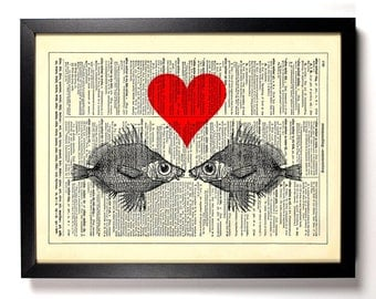 Tropical Heat Fish Love, Home, Kitchen, Nursery, Bath, Office Decor, Wedding Gift, Eco Friendly Book Art, Vintage Dictionary Print 8 x 10 in