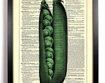Peas In A Pod, Home, Kitchen, Nursery, Bathroom, Office Decor, Wedding Gift, Eco Friendly Book Art, Vintage Dictionary Print, 8 x 10 in.