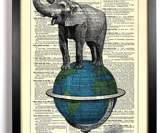 Elephant Atop A Globe, Home, Kitchen, Nursery, Bath, Office Decor, Wedding Gift, Eco Friendly Book Art, Vintage Dictionary Print 8 x 10 in.
