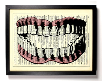 Teeth and Gums, Home, Kitchen, Nursery, Bath, Office Decor, Wedding Gift, Eco Friendly Book Art, Vintage Dictionary Print 8 x 10 in.