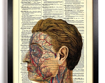 Anatomy Of The Face, Home, Kitchen, Nursery, Bath, Office Decor, Wedding Gift, Eco Friendly Book Art, Vintage Dictionary Print 8 x 10 in.