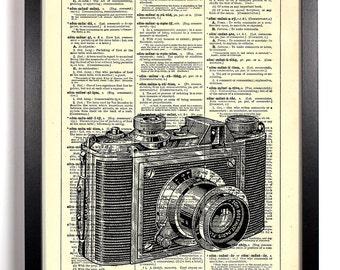 Camera Talk Photography, Home, Kitchen, Nursery, Bath, Office Decor, Wedding Gift, Eco Friendly Book Art, Vintage Dictionary Print 8 x 10 in
