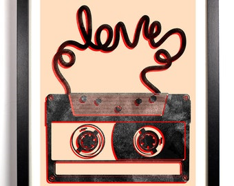Cassette Tape Love, Home, Kitchen, Nursery, Bath, Dorm, Office Decor, Wedding Gift, Housewarming Gift, Unique Holiday Gift, Wall Poster