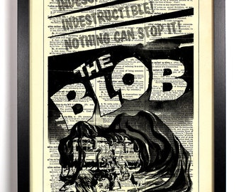 The Blob Retro Horror Movie Poster, Home, Kitchen, Office Decor, Wedding Gift, Eco Friendly Book Art, Vintage Dictionary Print 8 x 10 in.