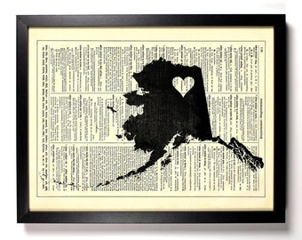 Alaska State Map, Home, Kitchen, Nursery, Bath, Office Decor, Wedding Gift, Eco Friendly Book Art, Vintage Dictionary Print 8 x 10 in.