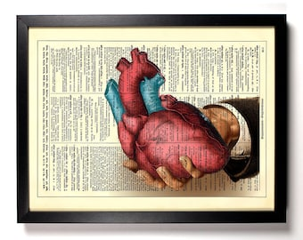 Have My Heart, Home, Kitchen, Nursery, Bathroom, Office Decor, Wedding Gift, Eco Friendly Book Art, Vintage Dictionary Print, 8 x 10 in.
