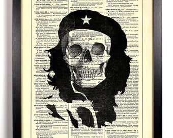 Che Guevara Skull, Home, Kitchen, Nursery, Bath, Office Decor, Wedding Gift, Eco Friendly Book Art, Vintage Dictionary Print 8 x 10 in.