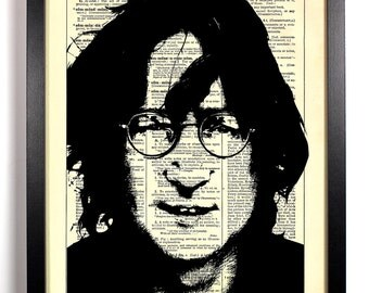 John Lennon, Home, Kitchen, Nursery, Bathroom, Dorm, Office Decor, Wedding Gift, Eco Friendly Book Art, Vintage Dictionary Print 8 x 10 in.