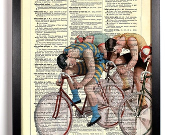Old Fashioned Bicycle Race, Home, Kitchen, Nursery, Office Decor, Wedding Gift, Eco Friendly Book Art, Vintage Dictionary Print 8 x 10 in.